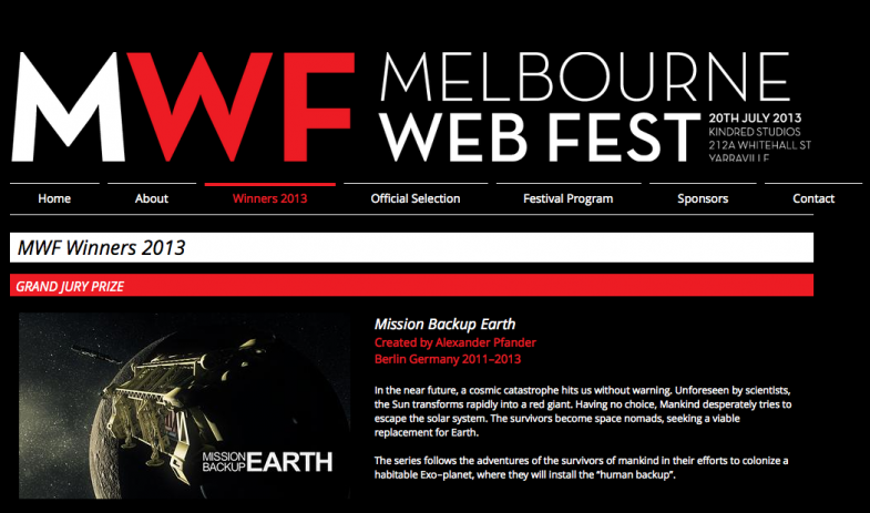 mission backup earth - melbourne web fest